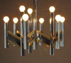 Gaetano Sciolari Chandelier, Series Chevron, chrome and brass vintage light lamp Italian art