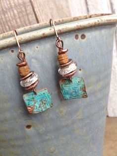 Patina Chic Earrings - Earthy Rustic Jewelry By YaYJewelry