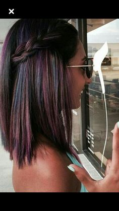 Cool multicoloured braid in dark hair - Romance Hair - Hair Color And Cut, Cool Hair Color, Oil Slick Hair Color, Grey Balayage, Bayalage Dark Hair, Pinterest Hair, Hair Today, Ombre Hair, Hair Dos