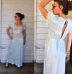 Vintage 1930s Light Blue Satin & Lace Night Gown by LaDeaDeiSogni, $88.00