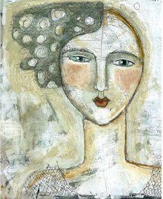 Mixed Media Painting Print  Modern Folk Dream Woman
