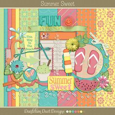 Summer Sweet Mini Digital Scrapbook Kit By Dandelion Dust Designs #DandelionDustDesigns #DigitalScrapbooking #SummerSweet #GingerScraps