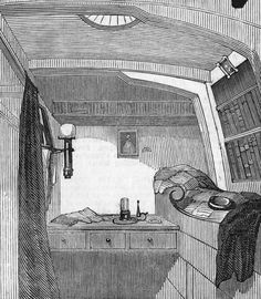 Captain Fitzjames's cabin on the 'HMS Erebus', circa 1845. The 'Erebus' went missing on a voyage to the Northwest Passage, along with the expedition's leader John Franklin and his entire crew.