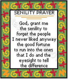 Free Large Cross Stitch Patterns | Senility prayer free cross stitch pattern | Yiotas XStitch