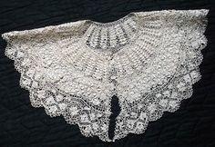 Antique Silk Maltese Lace Bertha Collar ~ Circa Early 1800s