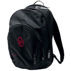 Nike Oklahoma Sooners Black Core Backpack by Nike. $45.00. This Core backpack by Nike features a laptop compartment, music pocket with cord port and plenty of storage to help any modern student succeed!Quality embroideryTwo main zippered compartmentsFront zip organizer pocketPadded laptop pocketMusic pocket for MP3 player/iPodHeadphone cord port at topCustom rubber Nike zipper pullsTop carry handlePadded adjustable backpack strapsPadded back panelEmbroidered Nike logoAppr...