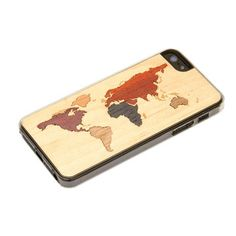 I neeed this!! iPhone 5 Case with World Map made from various kinds of real wood.