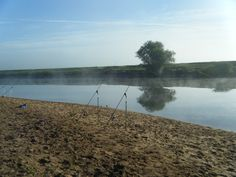 Early morning fishing for barbel on the River Trent, England