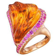 Naomi Sarna Hand-Carved Citrine Pink Sapphire Gold Ring | From a unique collection of vintage more rings at https://www.1stdibs.com/jewelry/rings/more-rings/
