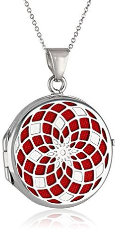 "Sterling Silver Italian Round Freeform Design Red Locket Necklace, 18"" Amazon Curated Collection http://www.amazon.com/dp/B00KHNOZII/ref=cm_sw_r_pi_dp_3TnWtb0HJZ16518Y"