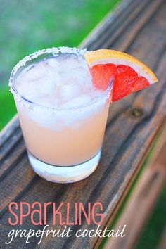 Sparkling Grapefruit Cocktail... Combine 1/2 c fresh grapefruit juice, 1/4 c fresh lime juice, 1/2 c vodka or clear tequila, 2 tbsp simple syrup Rim 3 cocktail glasses with juice from grapefruit wedge, dip in coarse sugar or salt. Fill glass with crushed ice, add 1/4 c club soda, Top off with grapefruit mixture and garnish!