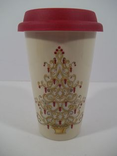 "LENOX ""Golden Christmas Tree"" Travel Mug & Lid - 12 OZ - NEW! #Lenox"