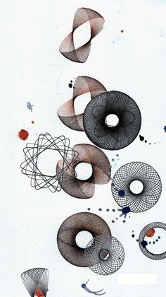 spirograph black brown . watercolor illustration. by SapoConcho, $10.00