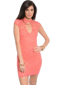 Lace Cutout Fitted Lined Dress