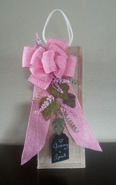 Wine Gift Bag, Burlap Bow, Artificial Flowers, Burlap Bag, Floral, Premium Faux Flowers, Grapevines, Chalkboard, Reusable, Handmade, Pink - pinned by pin4etsy.com