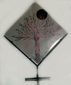 Handpainted tree on glass. Fused Glass. Wrought Iron Stand.