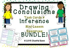 Drawing conclusions task cards and inference mini lesson resources- great bundle!