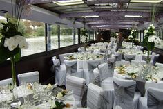 Wedding in a boat but with navy & white nautical theme.