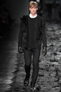 Fendi Fall / Winter 2014 - Man in Pullover with Fur Applications