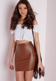 Brown Suede Leather Skirt