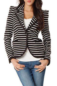 black & white striped jersey blazer