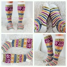 Taimitarhan polvisukat ❤️ Ohje ravelryssa. Fair Isle Knitting, Knitting Socks, Hand Knitting, Knit Socks, Yarn Crafts, Sewing Crafts, Lots Of Socks, Knitting Patterns, Crochet Patterns
