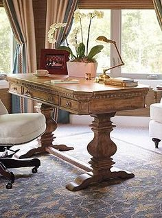 The Geneva Writing Desk brings a stately and rustic appeal to your office while providing you with a solid place to get your most important work done.