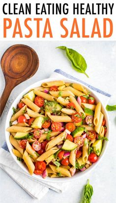 10 Most Misleading Foods That We Imagined Were Being Nutritious! Clean Eating Pasta Salad Made With Cucumbers, Tomatoes And A Basil Balsamic Dressing. This Delicious Pasta Salad Is Gluten-Free, Vegan And Perfect For Serving A Crowd Balsamic Pasta Salads, Healthy Pasta Salad, Healthy Pastas, Pasta Salad Recipes, Healthy Side Dishes, Healthy Salad Recipes, Quinoa Pasta, Spinach Salads, Clean Eating Pasta