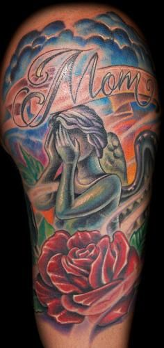 Marvin Silva - Weeping Angel and Rose Tattoo