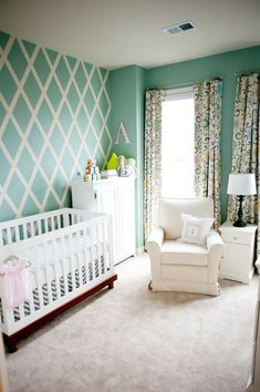 Great Neutral Gender Colors! (Great for brother & sister shared room too) DIY criss cross paint patternPaint: Benjamin Moore Natura paint in Wythe Blue -Curtains: Wavery Pom Pom Play Spa; fabric (including blackout lining) purchased from Fabric.com Teal walls