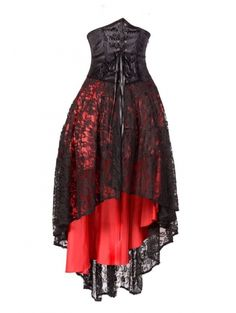 Red Corset Lace High-Low Gothic Party Dress