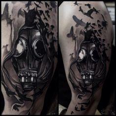 Gasmask Black and gray tattoo