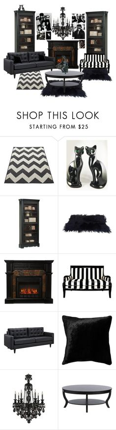 """Gothic Living Room"" by mistyghosts ❤ liked on Polyvore featuring interior, interiors, interior design, home, home decor, interior decorating, Home Decorators Collection, Squarefeathers, I Love Living and living room"