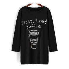 SheIn(sheinside) Black Round Neck Coffee Print Long T-Shirt ($13) ❤ liked on Polyvore featuring tops, t-shirts, shirts, black, long sleeve t-shirt, cotton t shirt, long t shirts, long sleeve cotton t shirts and long tshirt