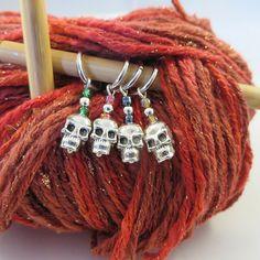 Silver Skull Stitch Marker - Weezie World Circular Needles, Stitch Markers, Jewelry Making, Handmade, Style, Swag, Hand Made, Jewellery Making, Make Jewelry