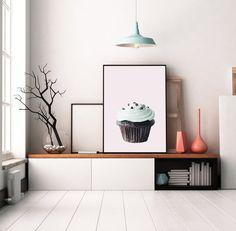 A print of a Drawing of a Chocolate Cupcake Diy Interior, Interior Decorating, Printable Art, Printables, Chocolate Cupcakes, Pink Chocolate, Daughters Room, Simple Prints, Home Printers