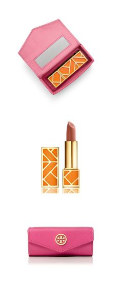For touch-ups when you're on the go: the Tory Burch Robinson lipstick case and Pas Du Tout lip color
