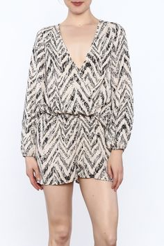 96aac7dd961 Silky kimono romper with waist tie. deep v line neck and brush painting  print.