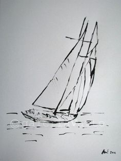 Ink drawing sailboat by galeriaVarte
