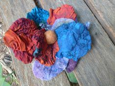 Unique hand dyed merino and silk felted fibre art  flower