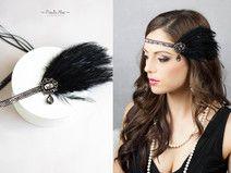 Federn Haarband 20er Headpiece Haarschmuck schwarz