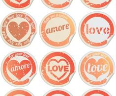 Round Love labels vector