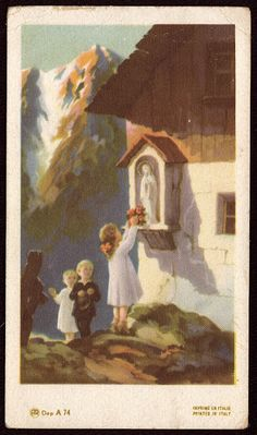 Children visiting Mother Mary ~ Italian Prayer Card