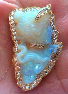 Huge Antique Deco Estate Opal Cameo Pendant Brooch 2 Carats Diamonds