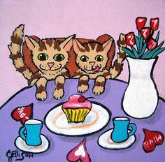 """""""Striped Kitties Valentine Cupcake""""  New Original Painting 4"""" x 4"""""""