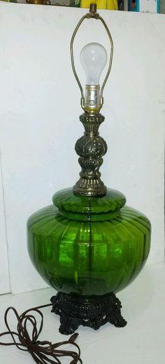 1971 Mid-Century Modern Hollywood Regency  L&L WMC Optic Green Glass Table Lamp #LLWMC