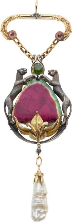 Tourmaline and Diamond Pendant Brooch by Boucheron