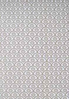 """Image of """"Fan"""" handprinted fabric {white}  yardage design ... i like!!!"""