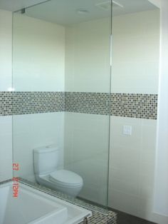 Ceramic Tile and Glass Toilet Enclosure: J Walsh Construction Custom Tile and Stone