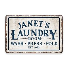 Personalized Vintage Distressed Look Laundry Wash Press Fold Metal Room Sign >>> You can find more details by visiting the image link.